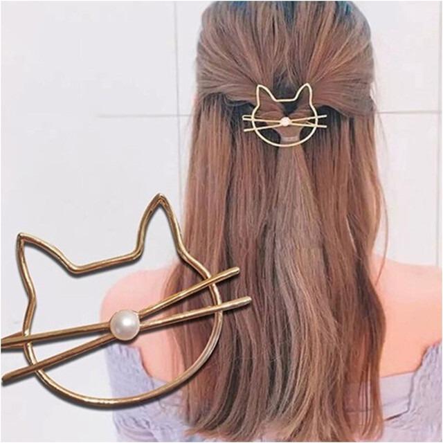 可愛いヘアクリップネコ ゴールドカラー