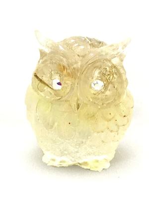 フクロウ型オルゴナイト【シトリン&天然水晶】