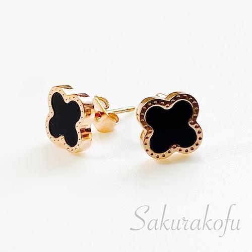 lucky clover onyx black earring D104