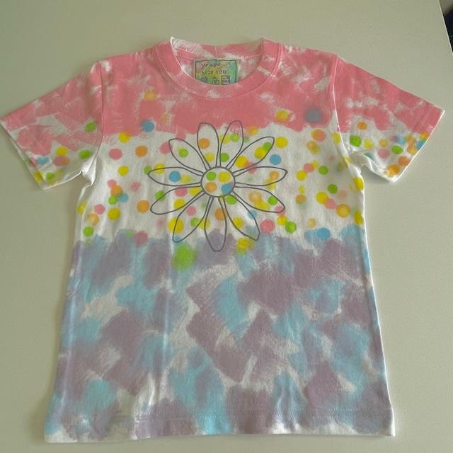 kidsTシャツ120cm「花 ドット」120-210918-3