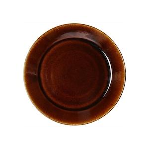 益子焼 つかもと窯 「伝統釉」 フラット プレート 皿 S 約18cm 飴釉 TH-4
