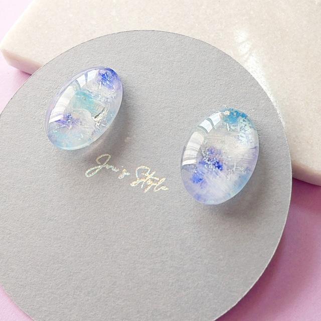 """ Earrings NO.0-1839″ ブルーマーブル一粒ペイント"