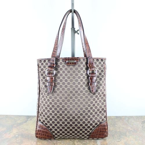 .OLD CELINE MACADAM PATTERNED CANVAS LEATHER TOTE BAG/オールドセリーヌマカダム柄キャンバスレザートートバッグ2000000050072