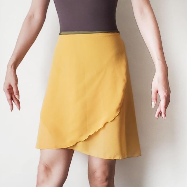 LONG wrap skirt【マスタード×ディープグリーン】