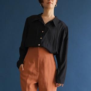 【送料無料】80's-90's vintage black blouse long sleeve(80年〜90年代  古着 ブラック ロングスリーブ ブラウス)