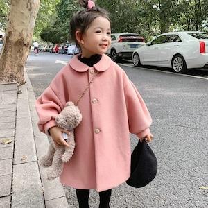 1505キッズコート ジュニア 女の子ジャケット 冬 防寒 ツイードコート アウター