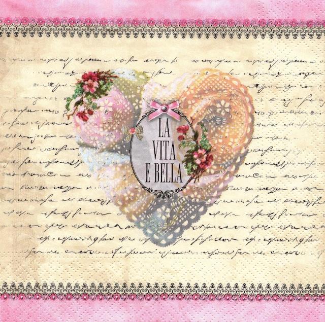 【Nouveau】バラ売り2枚 ランチサイズ ペーパーナプキン La vita e bella クリーム×ピンク
