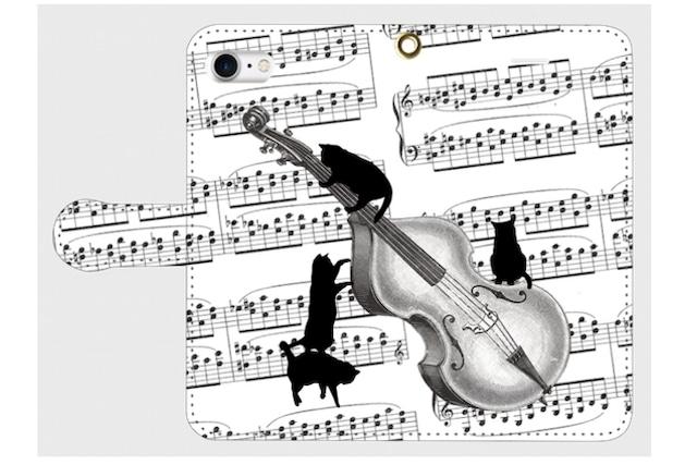 (iPhone用)コントラバスと黒猫の手帳型スマホケース