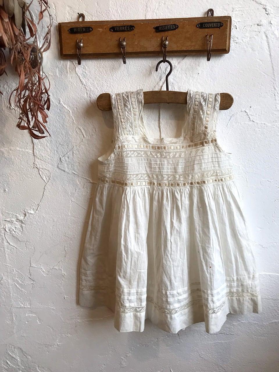 フランス ハンドメイド ベビー服 白 リボン