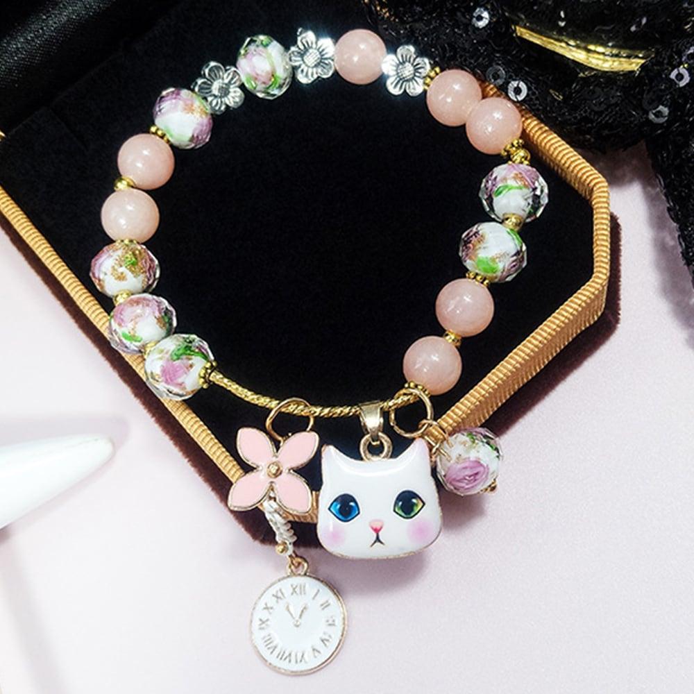☆数量限定再入荷☆【大人気!】花と時計のホワイトキャットチャーム ピンクビーズ ブレスレット