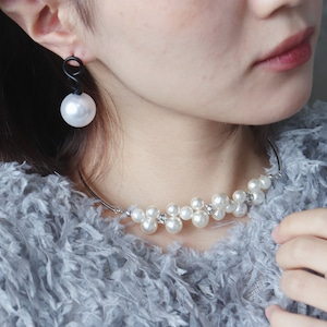 NECKLACE || 【通常商品】 BLOOMING PEARL NECKLACE WITH ZIRCONIA (SILVER) || 1 NECKLACE || SILVER || FAL029