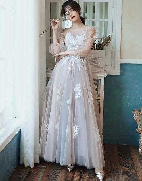 ライトグレー ロングドレス メッシュ パーティードレス TM0107