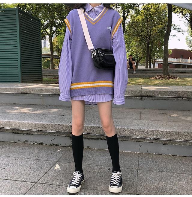 2021SS 制服風ミドル丈オーバーシャツ+ベストセーター S1471
