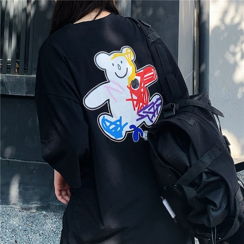 【★送料無料★】ユニセックス 半袖 Tシャツ メンズ レディース 落書き風 クマちゃん ベアー プリント オーバーサイズ 大きいサイズ ルーズ ストリート DTC-616567993304