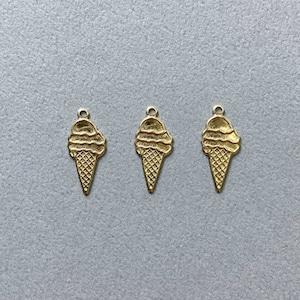 USA真鍮 フラットアイスクリームモチーフチャーム