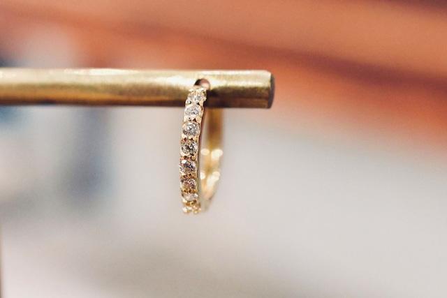 ダイヤモンド フープピアス / 0.1ct×2 / K18YG