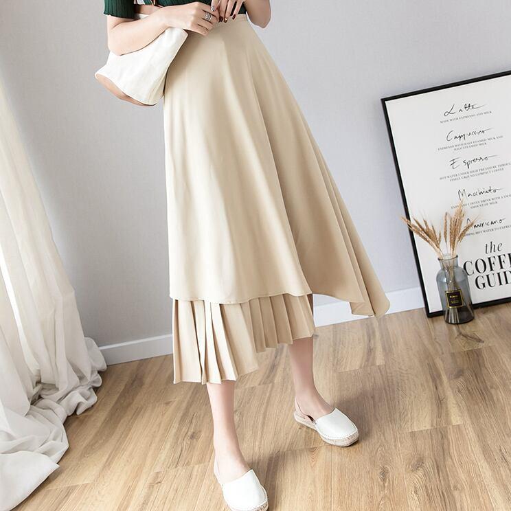 プリーツアシメトリーデザインスカート(ベージュ・ブラック)|入学式 通勤 セレモニー