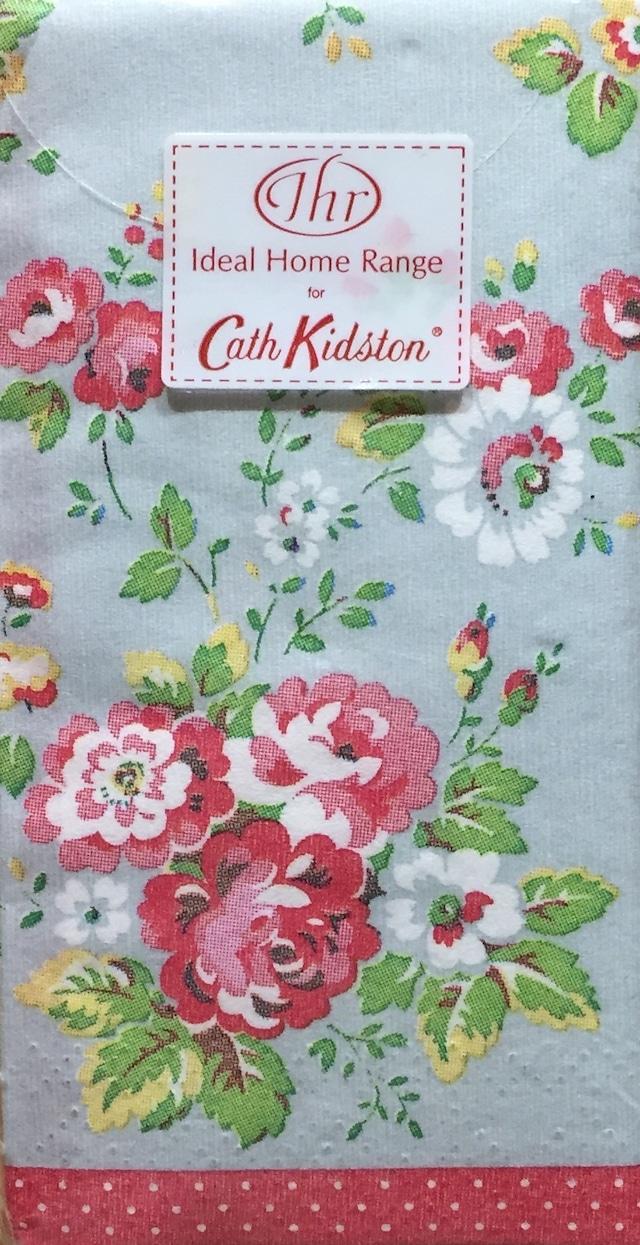 【Cath Kidston】バラ売り1枚 ポケットサイズ ペーパーナプキン SPRAY FLOWERS グレー
