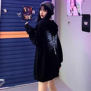 【トップス】ストリート系長袖蝶図柄ファッションパーカー42898181