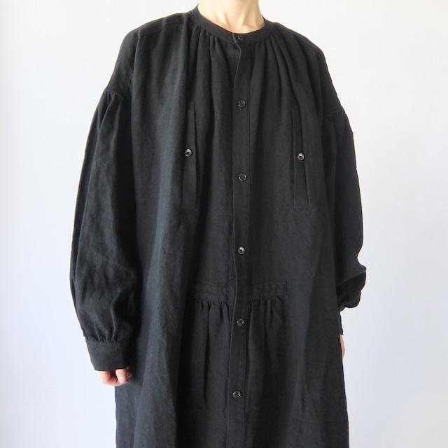 Vlas Blomme - 平織タンブラー ワークワンピースコート - Black
