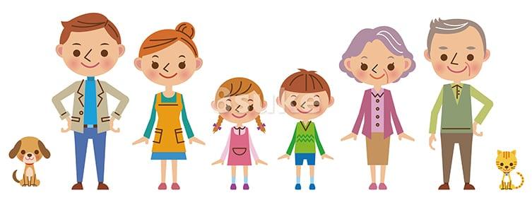 かわいい人物イラスト素材:3世代家族とペット2匹(ベクター・JPG)