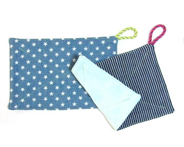 カジュアルなデニム風リバーシブルふきん ダブルガーゼ 台布巾 ぞうきん 雑巾 2枚セット_デニムグリーン
