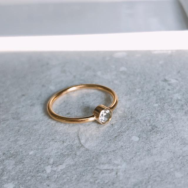 14kgf リング(指輪)〈ホワイトトパーズ>11月誕生石