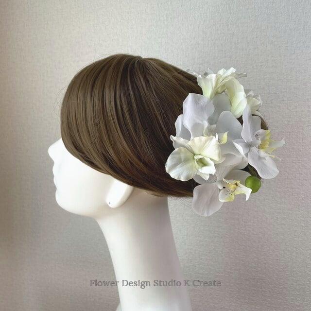 成人式、和装婚に♡デンファレと胡蝶蘭のヘッドドレス 成人式 和装婚 ピオニー 芍薬 髪飾り 造花 アーティフィシャルフラワー