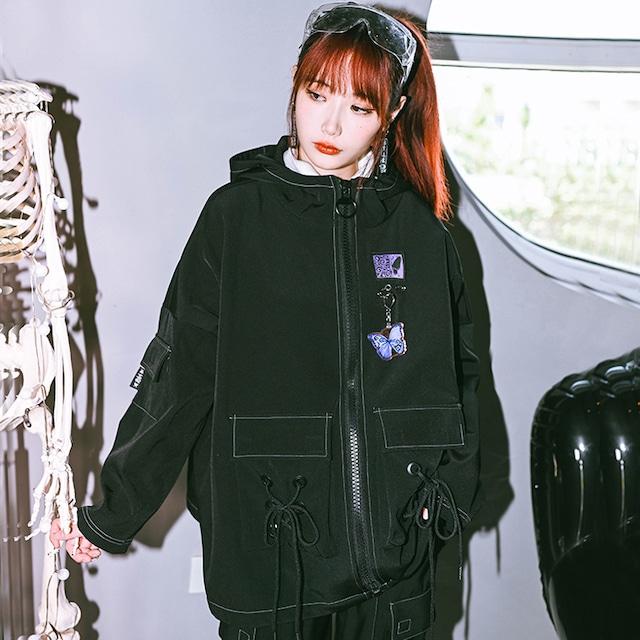【古怪舍シリーズ】★チャイナ風アウター★ coat フード付き 蝶々 厚て 暖かい オリジナル ブラック 黒い