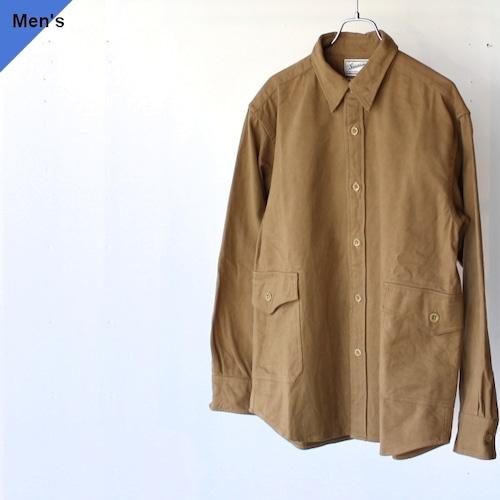 Soundman サウンドマン Gladstone ヘビーフランネルカーゴポケットシャツジャケット 335M-055Q キャメル