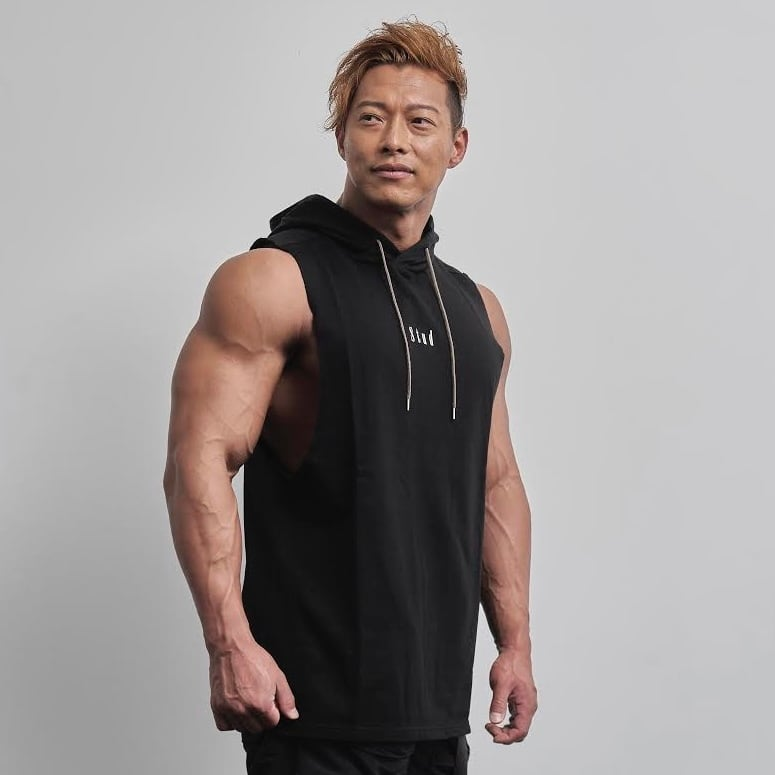 sleeveless hoodie   (BLACK)