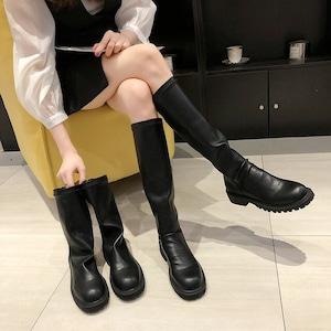 【シューズ】ファッション丸トゥミドルヒール無地ロング丈ブーツ43314113