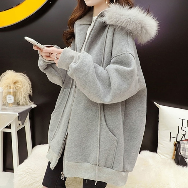 【アウター】最愛の一着 シンプル 無地 ジッパー ファー フード付き 暖かい ポケット付き 厚手 コート-1-53905459