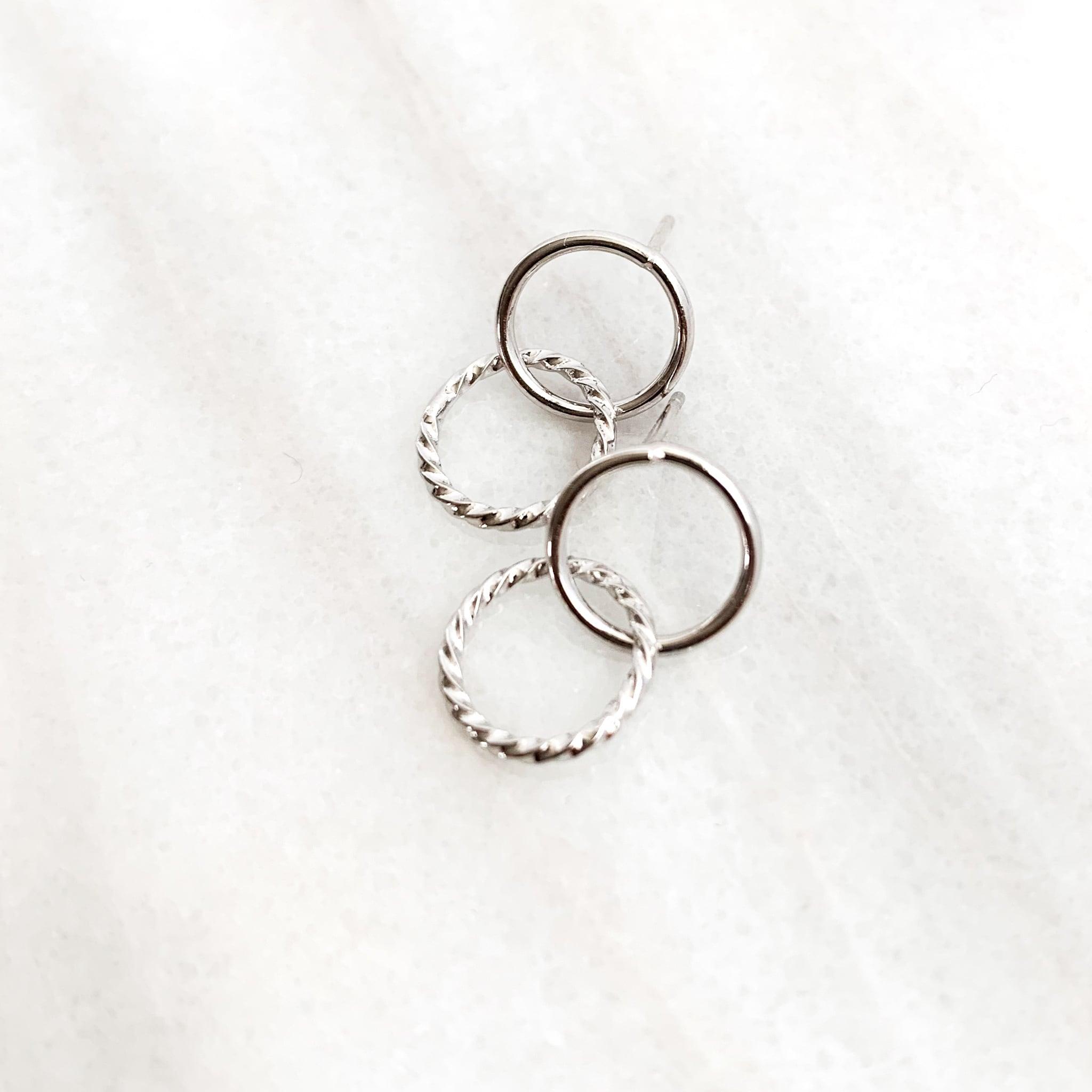 Double Ring Pierce silver n458