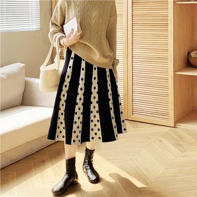 フェイクプリーツニットスカート(3color) D210903