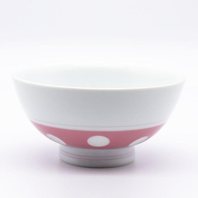 感器工房 吉田焼 副千窯 飯碗 水玉 ピンク 03963
