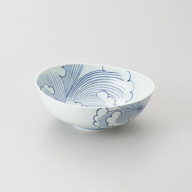 【青花 匠】染付牡丹 楕円取鉢