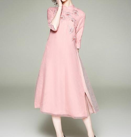 シルクチャイナ風ドレス ミモレ丈 刺繡 レトロ 七分袖 結婚式 二次会 パーティ ーお呼ば れwb070