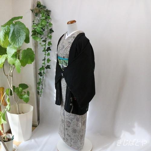 正絹 黒地に梅の絞りの羽織