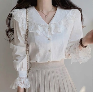 lace frill tops 2color