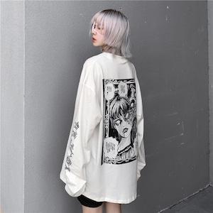 【トップス】暗黒系INS風ストリートプリントルーズTシャツ52261065