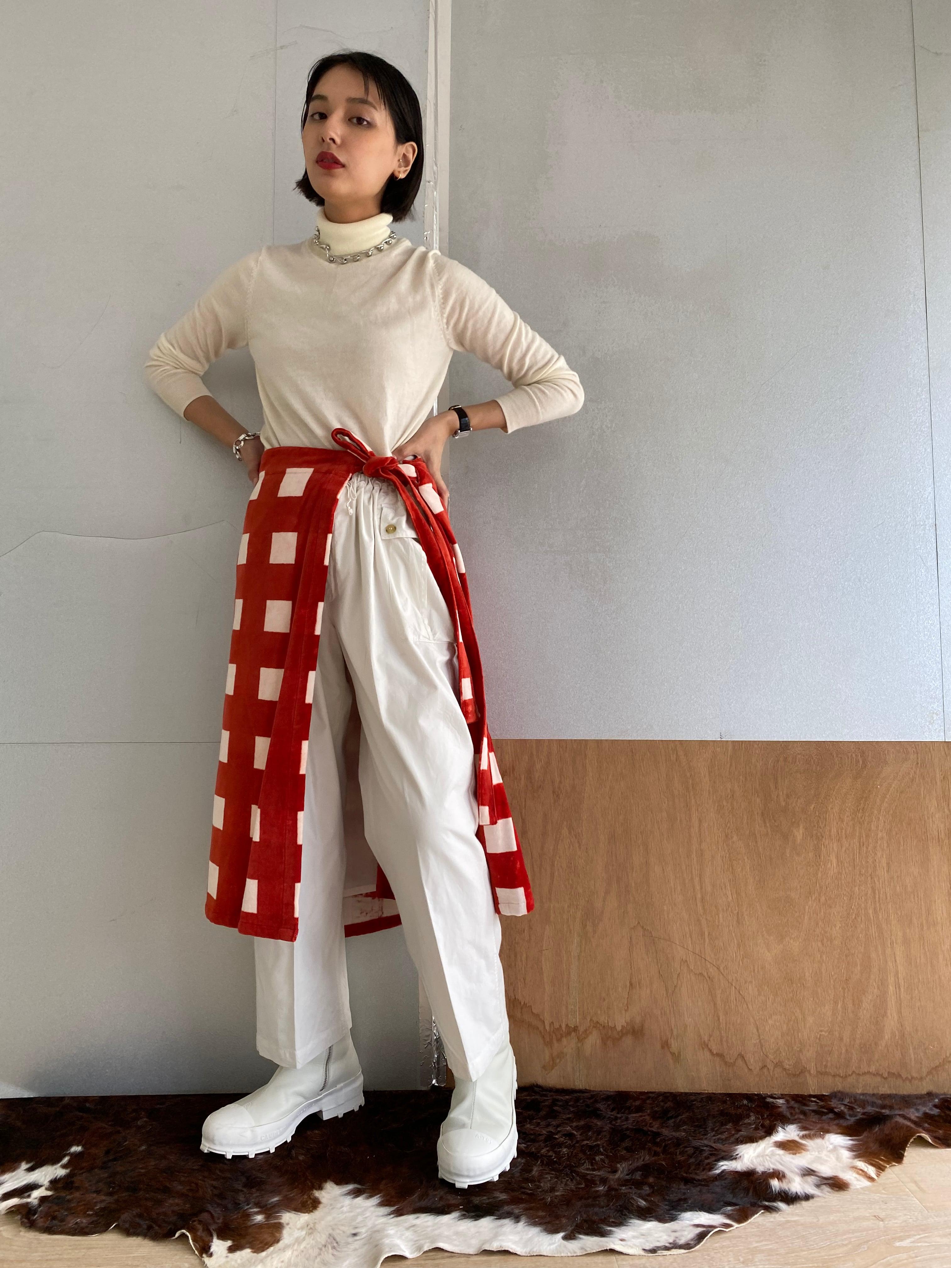 "Wrapped Skirt ""block print big size gingham check red"" cotton velvet"