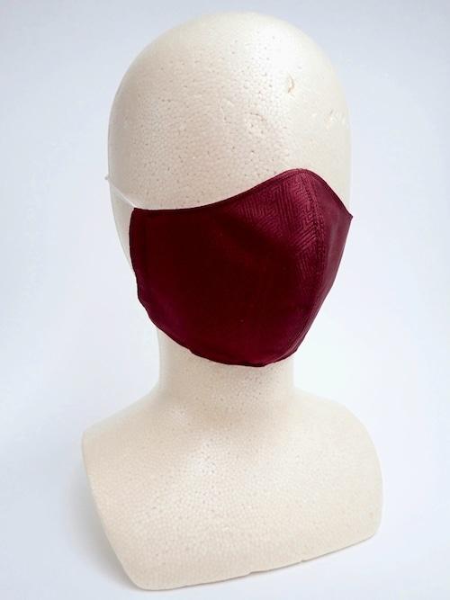 冷感 夏用 和風立体布マスク 赤紫