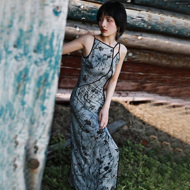 【大青龍肆シリーズ】★ロングワンピース★ ノースリーブ セクシー 不規則 ドレス 花柄 着痩せ 独特なデザイン