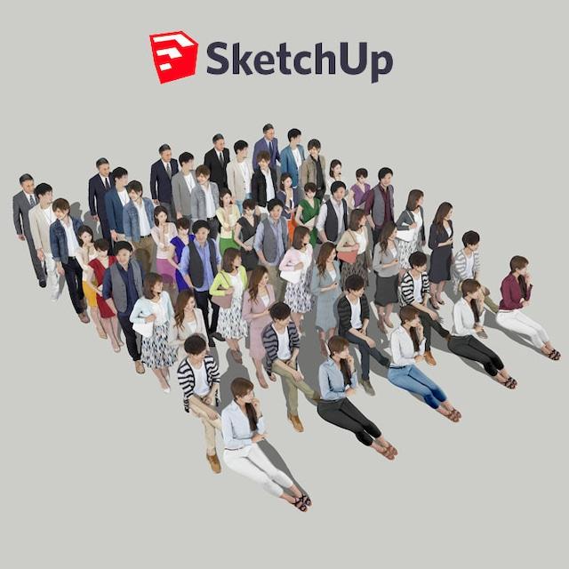 SketchUp素材 3D人物素材-ポーズド 10個セット 002_Posed-set - メイン画像