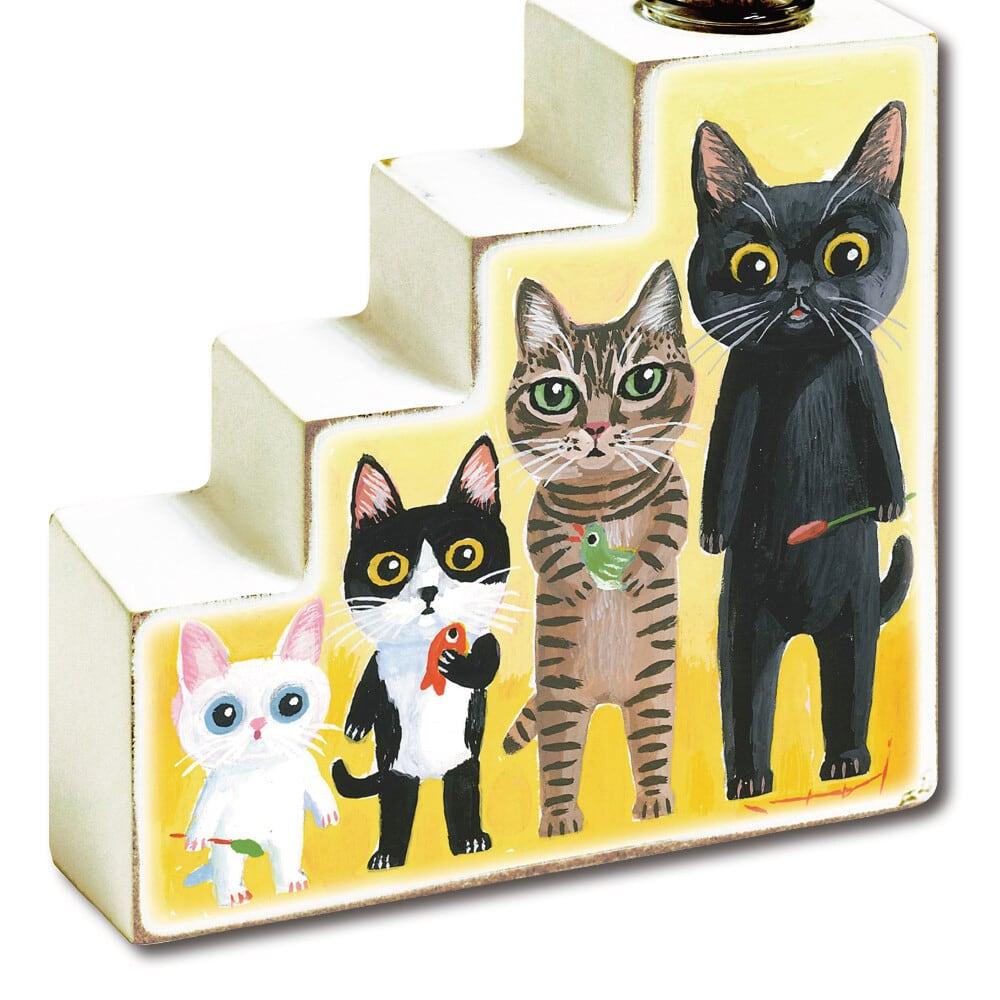 猫花瓶(糸井忠晴フラワーベース)ネコの背比べ