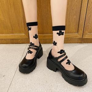 パンプス レディース メリージェーン 黒 ロリータ シューズ 靴 厚底 ミディアムヒール コスプレ靴  LOLITA レザーシューズ 革靴7402