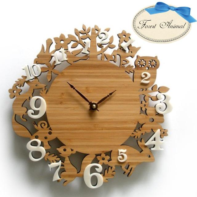 Decoylab  ハンドメイド Forest animal 掛け時計 フォレストアニマル