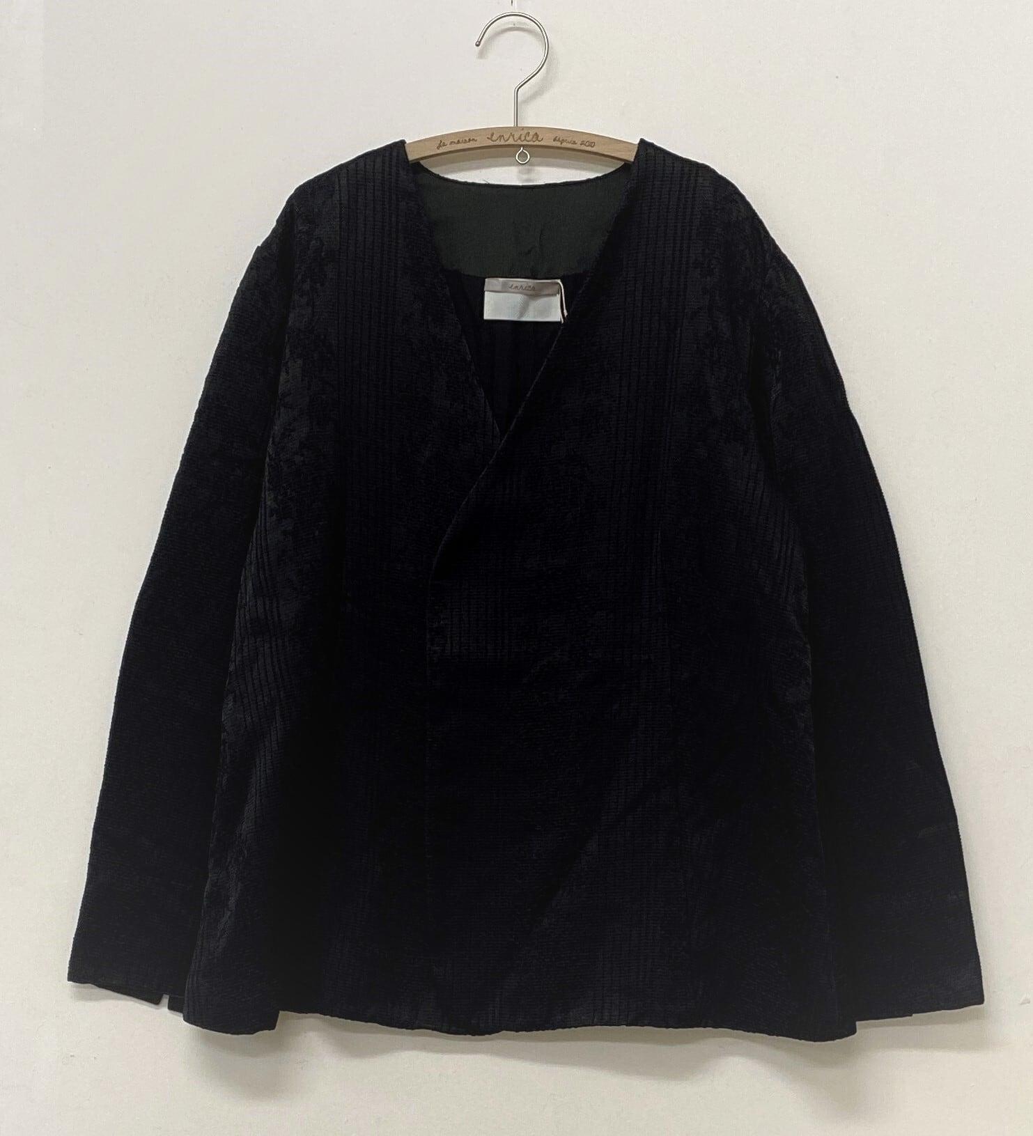 コットンキュプラ素材のジャガード織ジャケット LOGWOOD-BLACK(ログウッド染め)