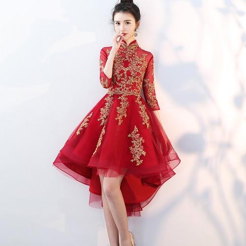 フィッシュテール チャイナ風 ドレス 刺繍 七分袖 シースルー パーティー お呼ばれ 二次会(F018)
